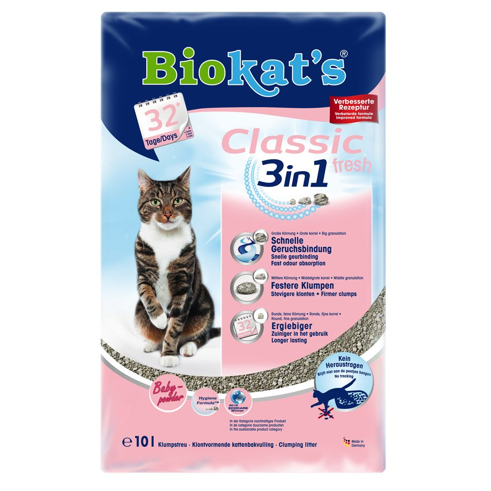 Biokat's Classic Fresh 3in1 Cat Litter - Baby Powder Scent - 10l
