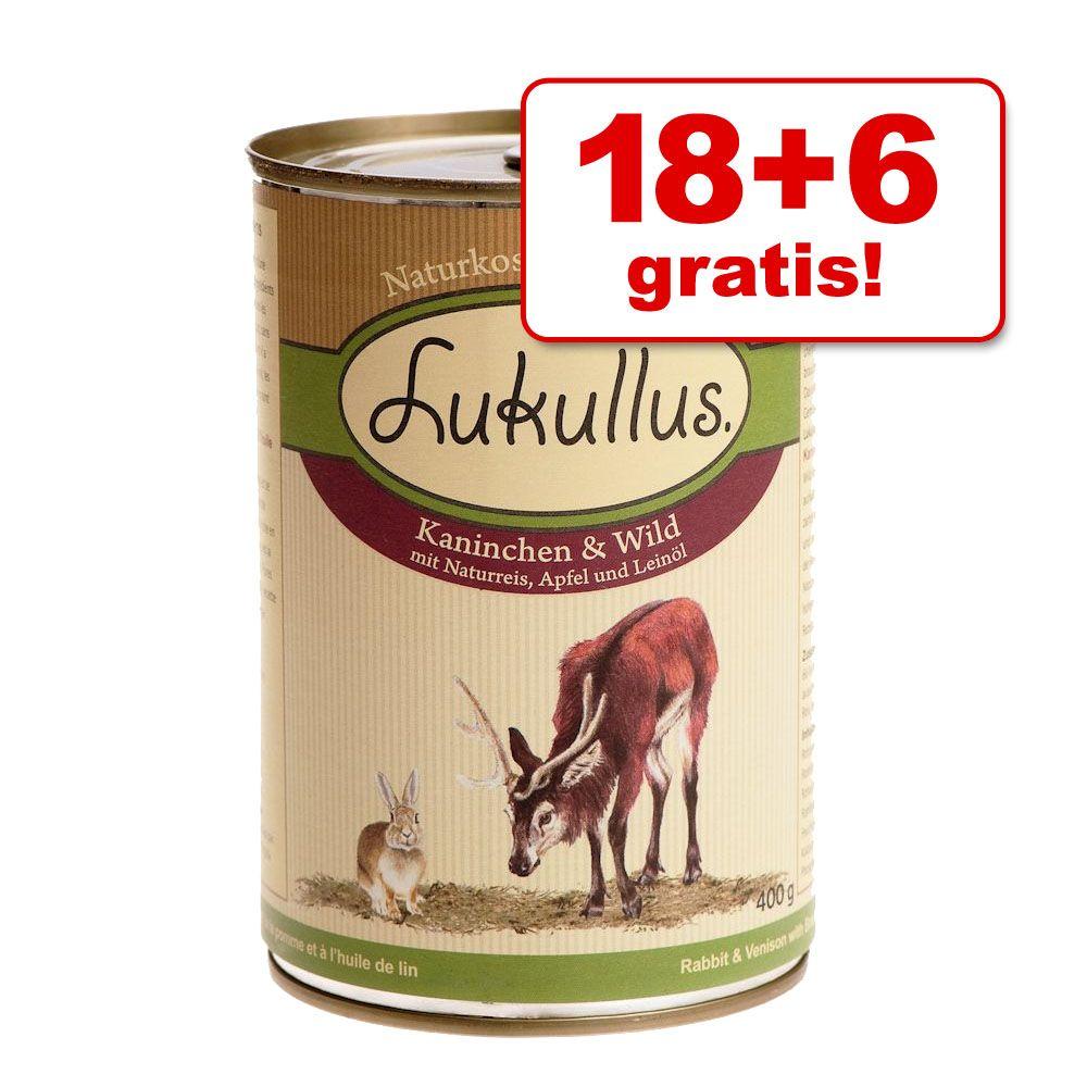 18 + 6 gratis! Lukullus Natural, 24 x 400 g - Natural, serca z indyka i gęś