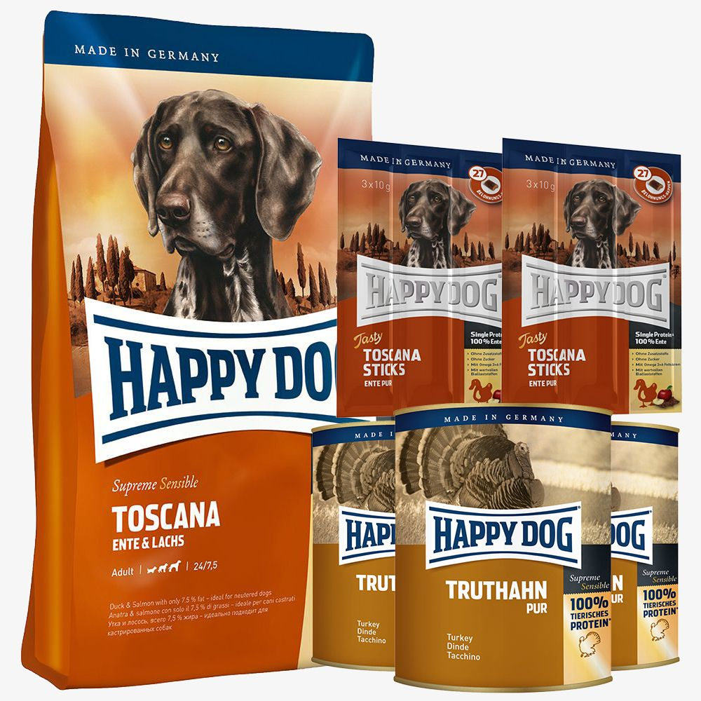 Testpaket Happy Dog Toscana Trocken- & Nassfutt...