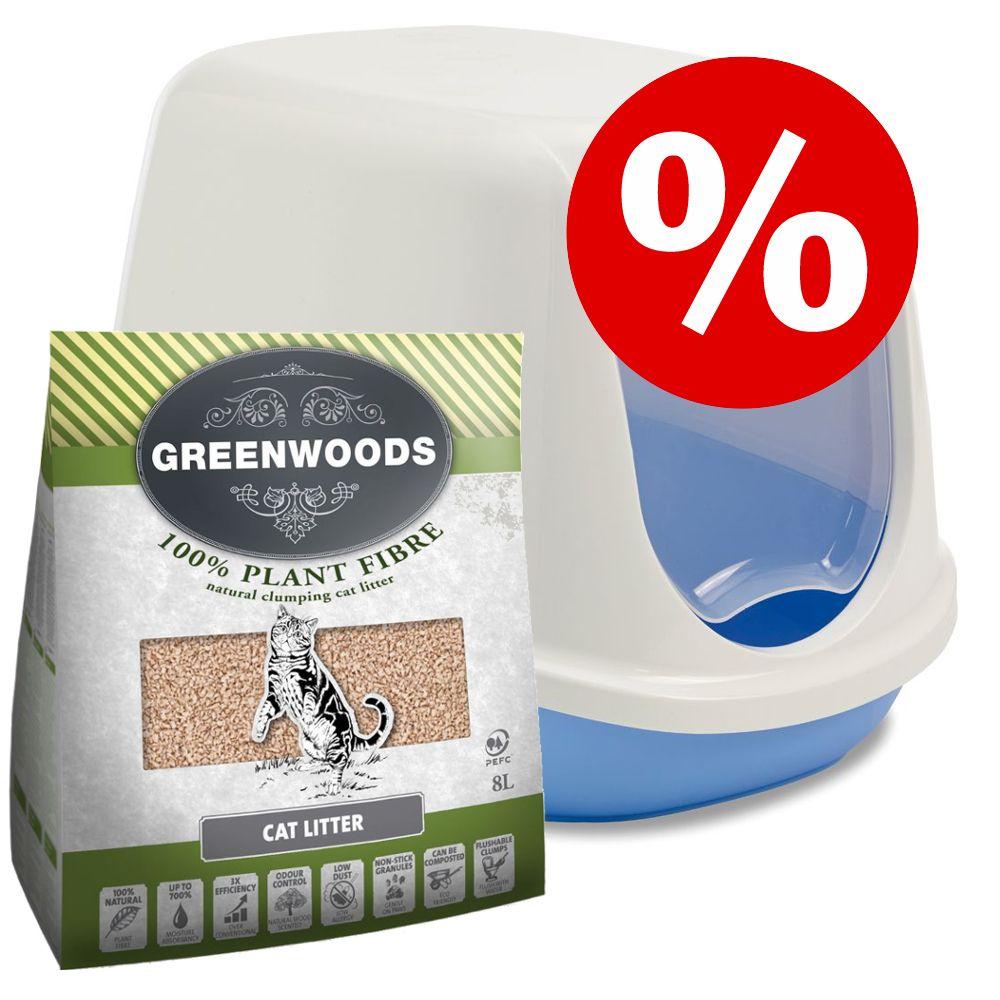 Start set: Savic Duchesse kattlåda med tak & Greenwoods Plant Fibre kattströ - Blå/vit kattlåda & 8 l Greenwoods Plant Fibre