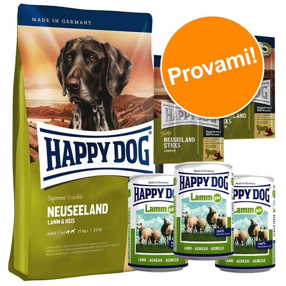 Foto Set prova Happy Dog Nuova Zelanda secco + umido + snack - 12,5 kg + 6 x 800 g + 6 x 10 g Happy Dog Supreme Sensible