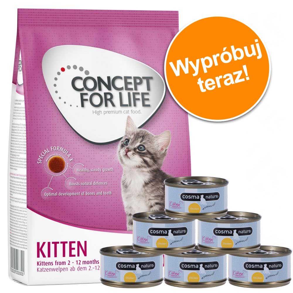 Pakiet dla kociąt: 400 g Concept for Life Kitten + Cosma Nature w super cenie! - Zestaw I
