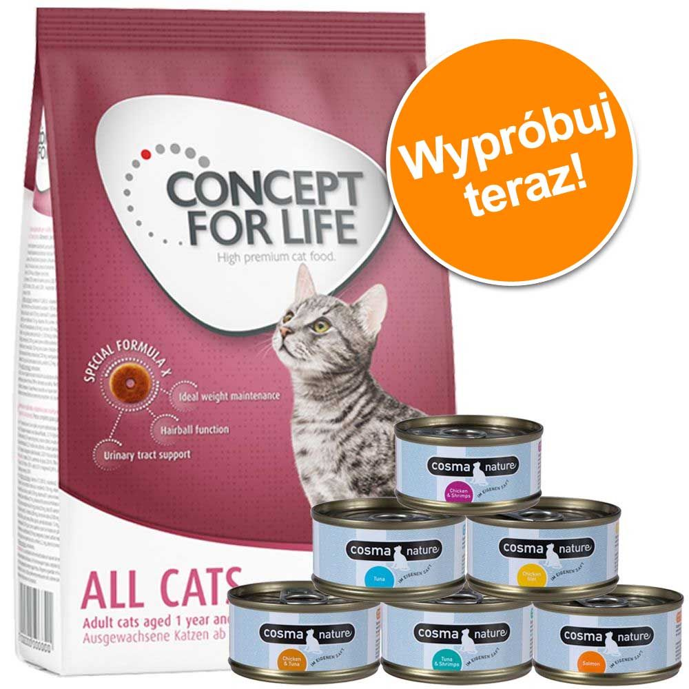 Pakiet próbny: 400 g Concept for Life + Cosma Nature 6 x 70g - All Cats 10 + Cosma Nature