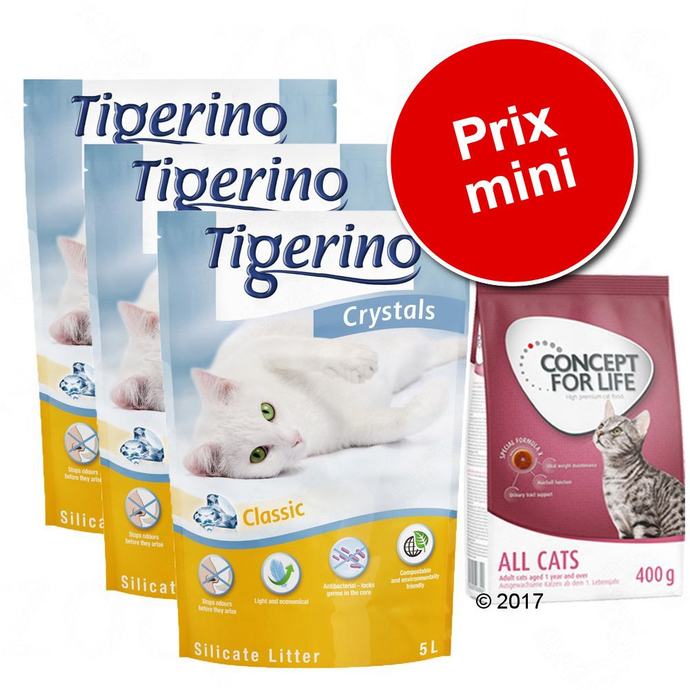 Pack Litière Tigerino Crystals + 400g Concept For Life Maine Coon