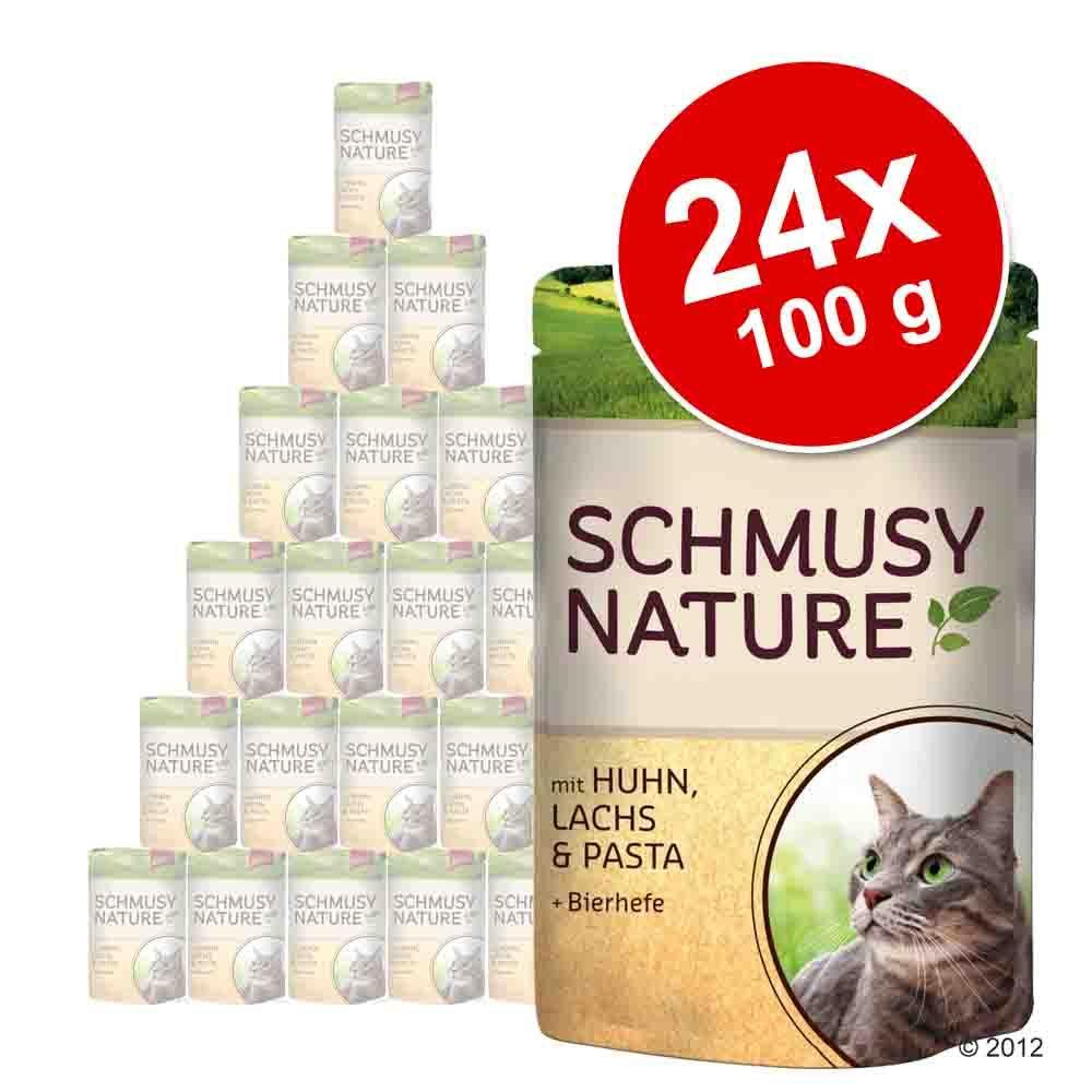 Megapakiet Schmusy Nature w saszetkach, 24 x 100 g - Kurczak, łosoś, makaron i drożdże piwne
