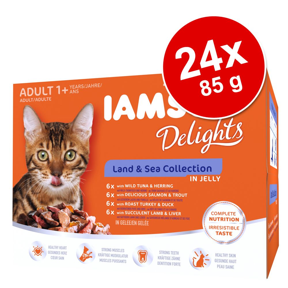 Sparpaket IAMS Delights 24 x 85 g - Land & Sea ...