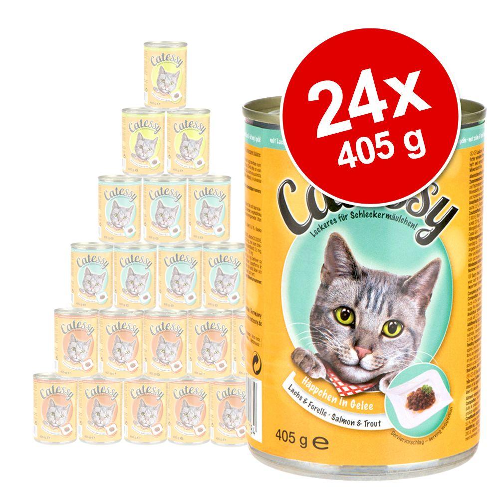 Ekonomipack: Catessy bitar i gelé 24 x 400 g - Blandpack: Kyckling, lax, lamm och nötkött