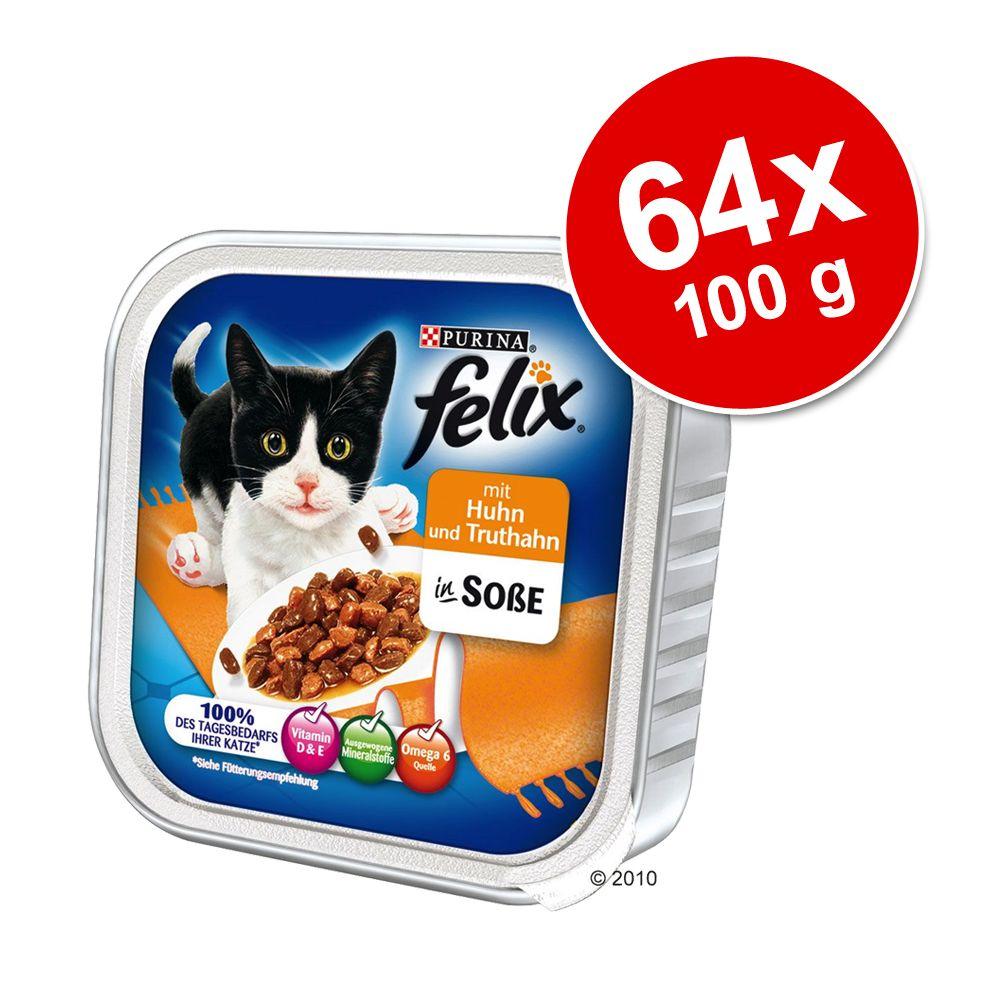 Sparpaket Megapack Felix Schalen 64 x 100 g - Lachs & Scholle (in Gelee)