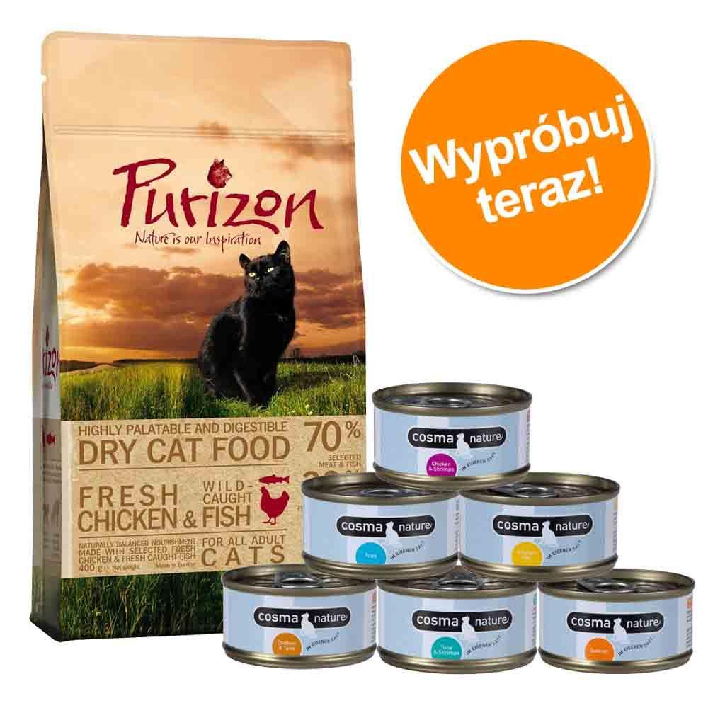 Pakiet próbny: 400 g Purizon + 6 x 70 g Cosma Nature - Ryba + Cosma Nature