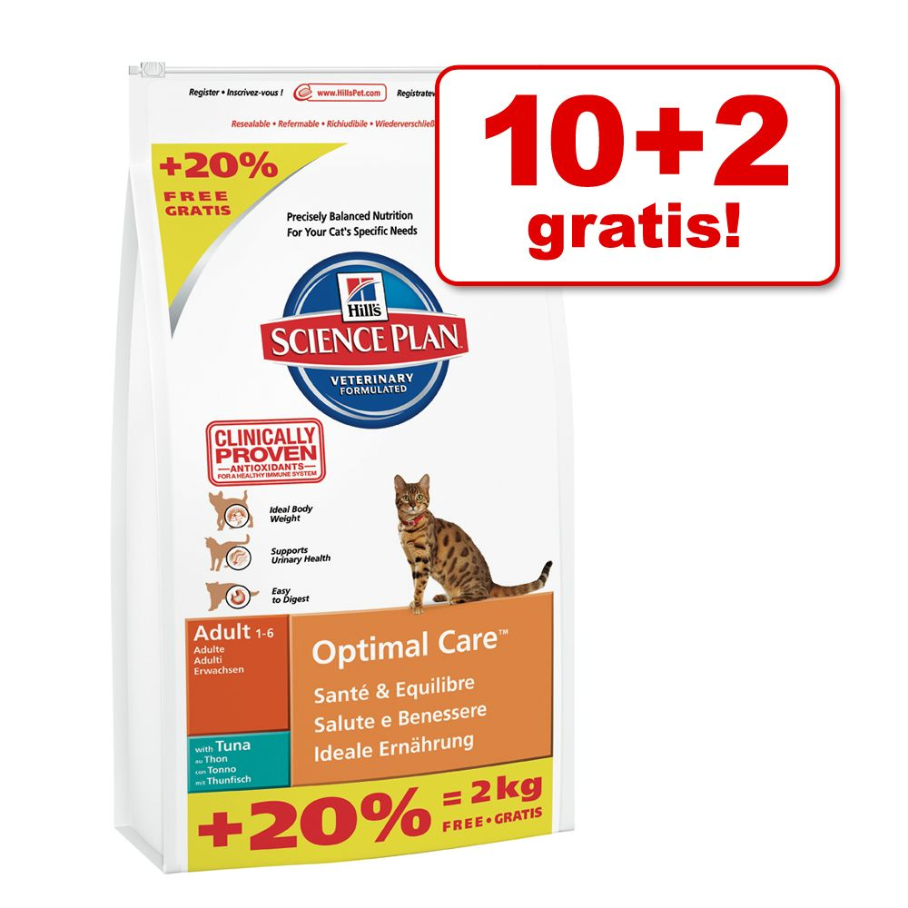 10 + 2 kg gratis! Hill's Feline sucha karma, 12 kg - Adult Light, kurczak