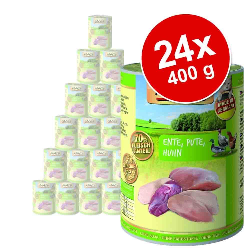 Megapakiet MAC´s Cat karma dla kota, 24 x 400 g - Kaczka, indyk, kurczak
