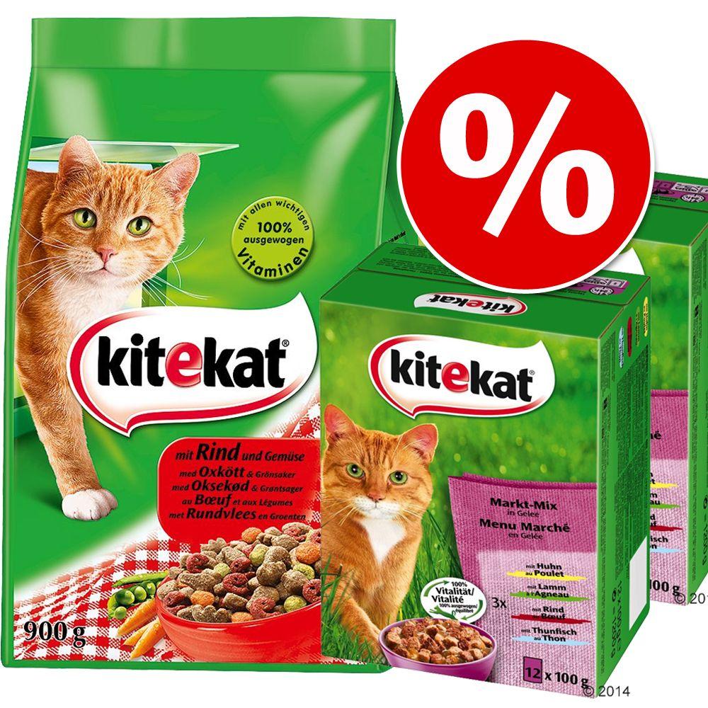 Blandpack: 24 x 100 g Kitekat portionspåsar + 900 g Kitekat torrfoder – Brokig mångfald i sås + Kyckling & grönsaker
