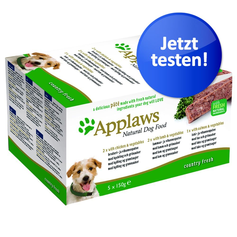 Image of Applaws Dog Paté Probierpack 5 x 150 g - Country Selection: Hühnchen, Lamm & Lachs