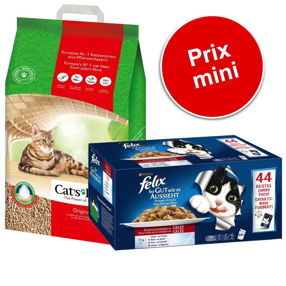 Pack malin : 20 L de litière Cat's Best Öko Plus / Original + sachets Felix Tendres Effilés en gelée - pack malin : Cat's Best Original + Felix Tendres Effilés 88 x 100 g