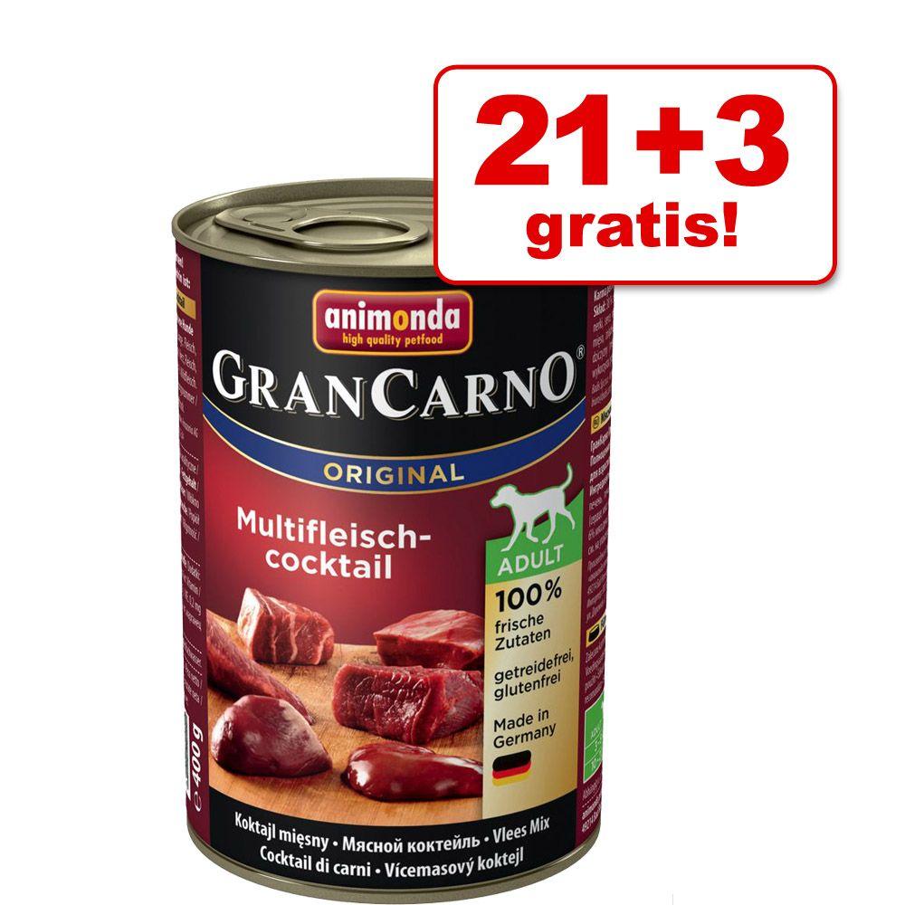21 + 3 gratis! Animonda GranCarno Original Adult, 24 x 400 g - Wołowina i kacze serca