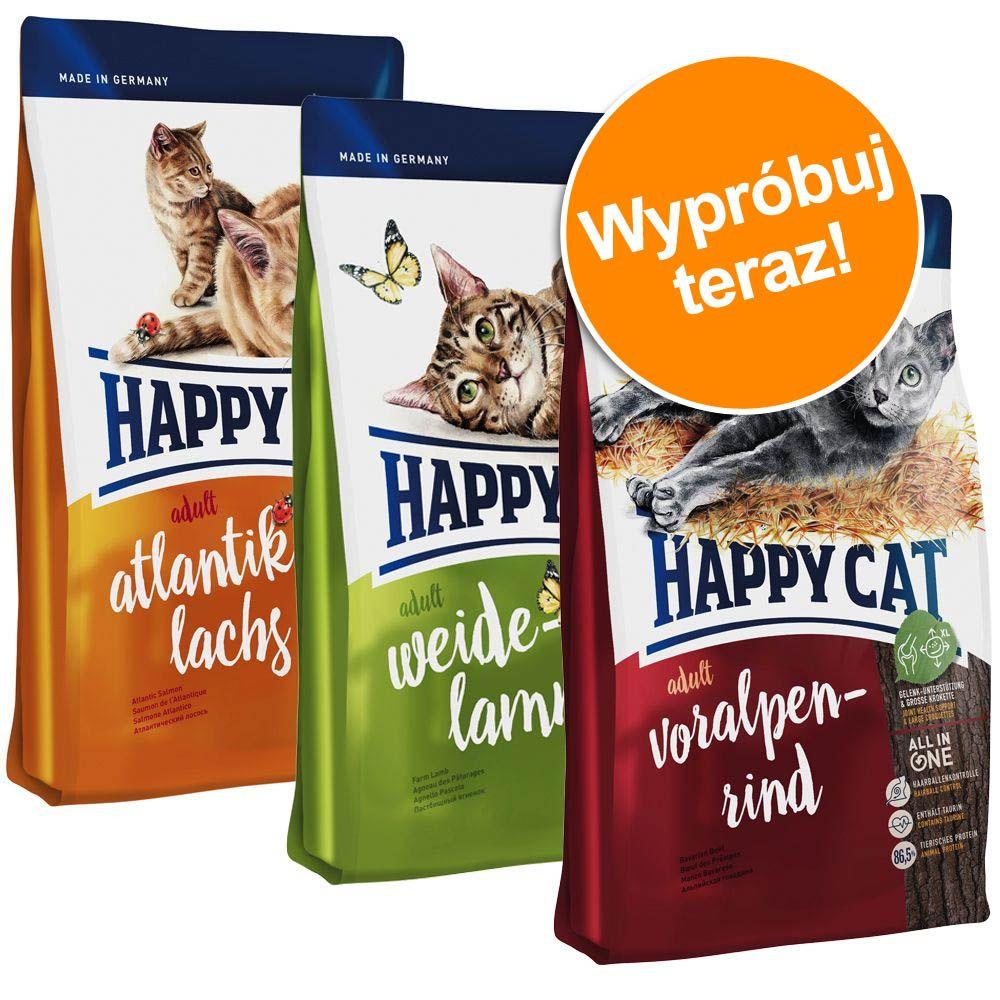 Pakiet próbny Happy Cat Adult, 3 x 4 kg - 3 smaki: jagnięcina, łosoś atlantycki i wołowina alpejska