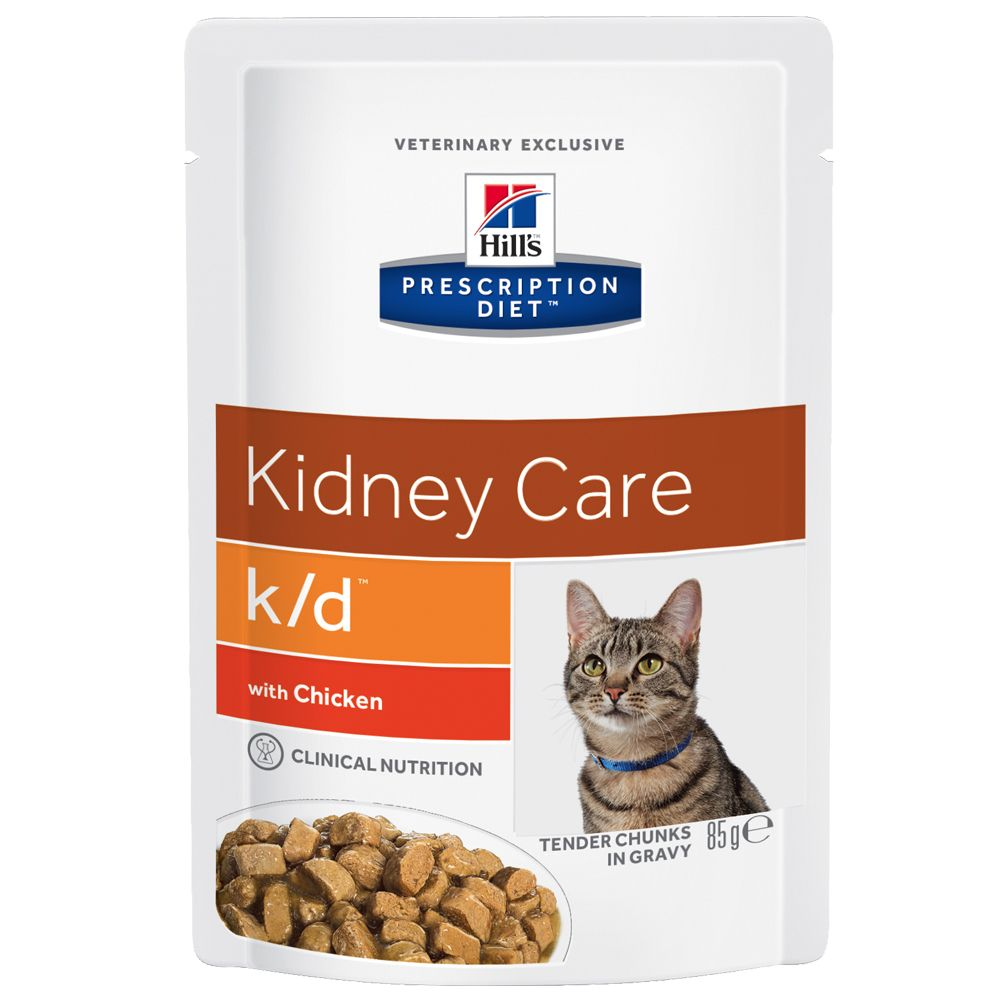 Hill's Prescription Diet Feline - k/d Kidney Care - 12 x 85g pouches Beef