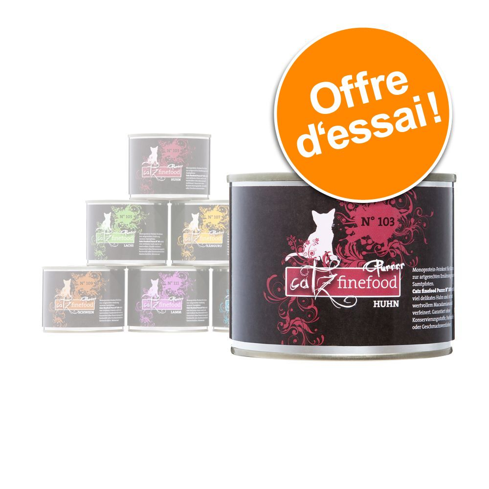 Offre découverte Catz Finefood Purrrr 6 x 200/190 g pour chat - lot mixte