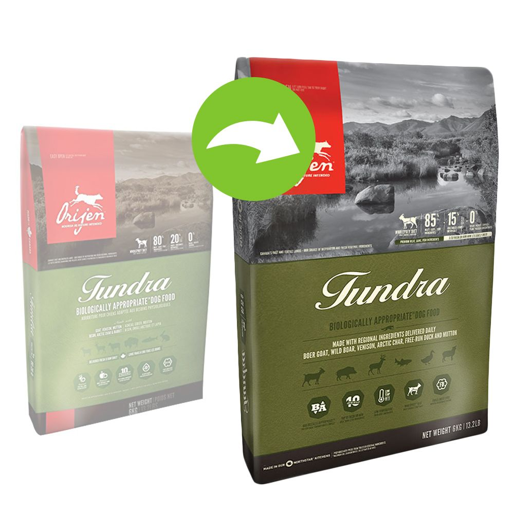 The recipe of Orijen Tundra dry dog food follows the WHOLEPREY™ principle, to match your dog's natural nutritional requirements. Dogs' ancestors lived on a diet th...