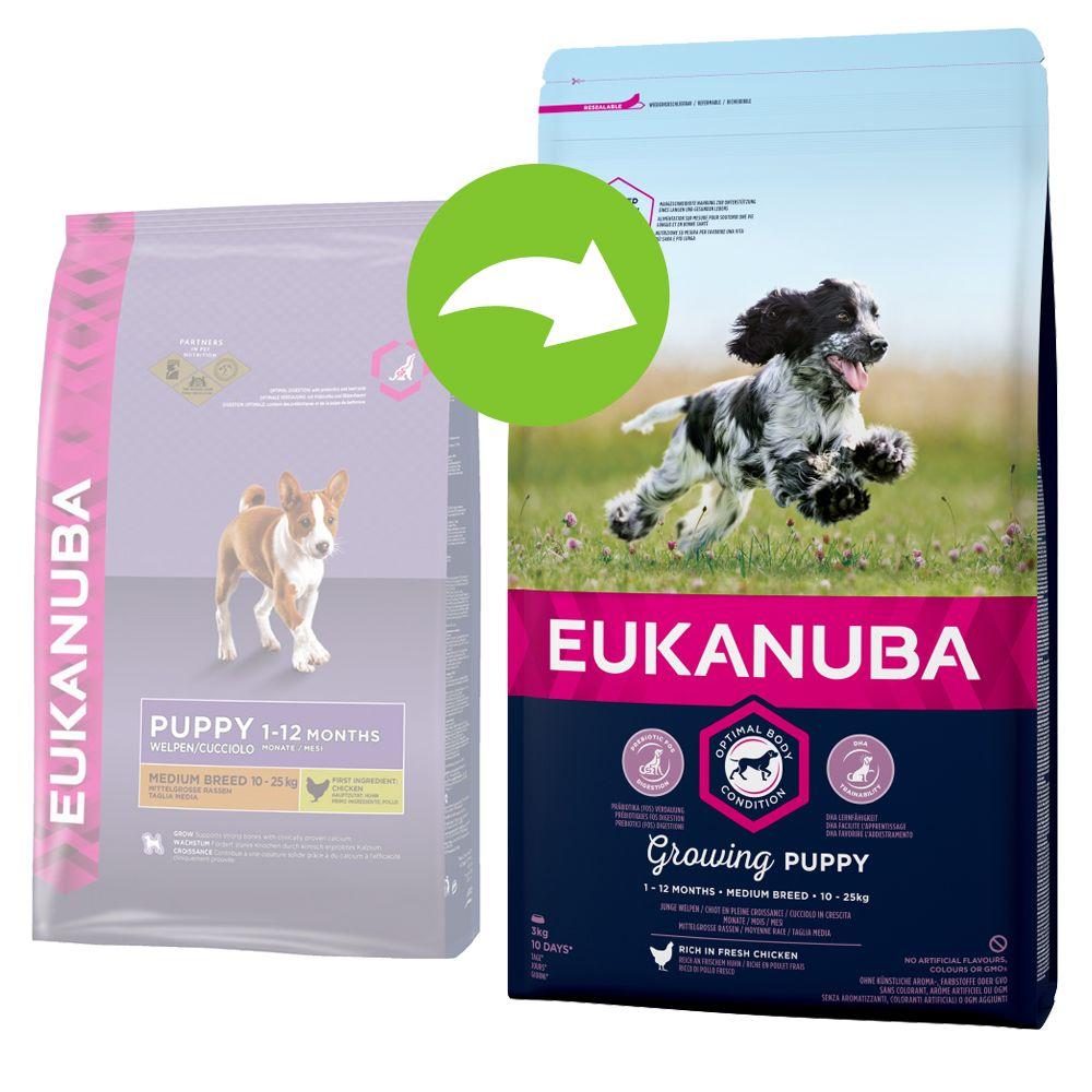 Image of Eukanuba Growing Puppy Medium Breed Huhn - 15 kg
