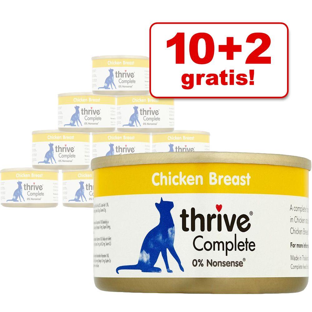 10 + 2 gratis! 12 x 75 g Thrive Complete - Hühnerbrust