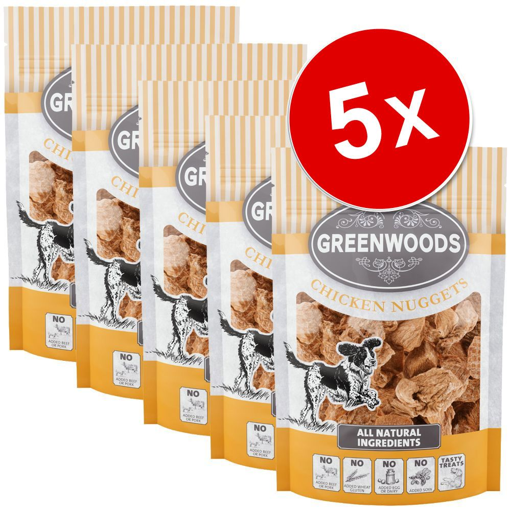 Lot Greenwoods Nuggets 5 x 100 g pour chien - lot mixte : 3 x poulet / 2 x canard