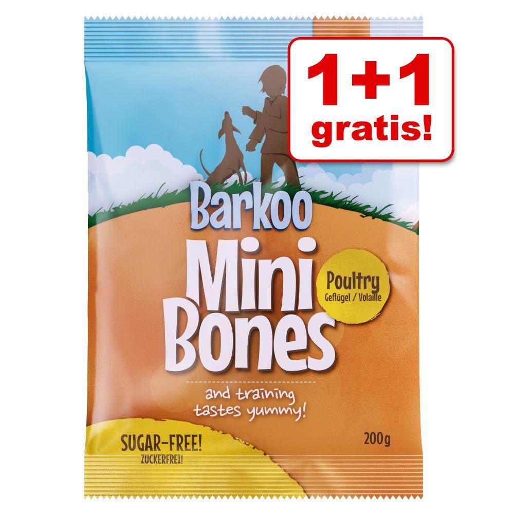 1 + 1 gratis! Barkoo Mini Bones, 400 g - Drób