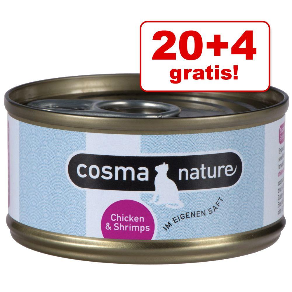 20 + 4 på köpet! 24 x 70 g Cosma Nature – Kycklingbröst & tonfisk