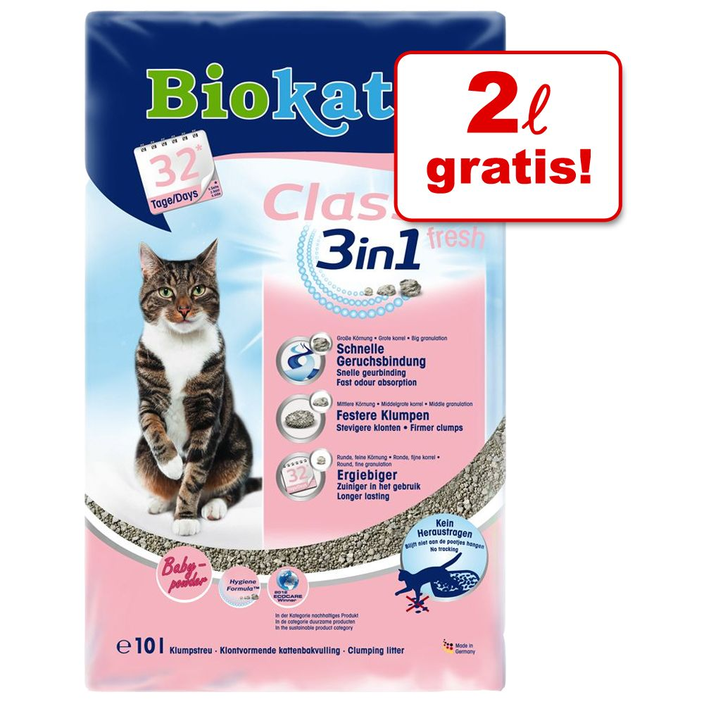 8 l + 2 l på köpet! Biokat's Classic 3in1 - Classic Fresh 3in1 babypuderduft