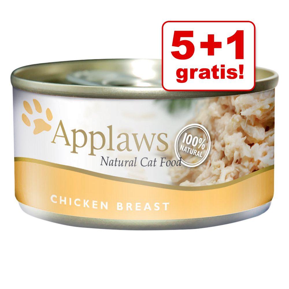 5 + 1 på köpet! 6 x 70 g Applaws kattmat i buljong och gelé - Kycklingbröst & pumpa