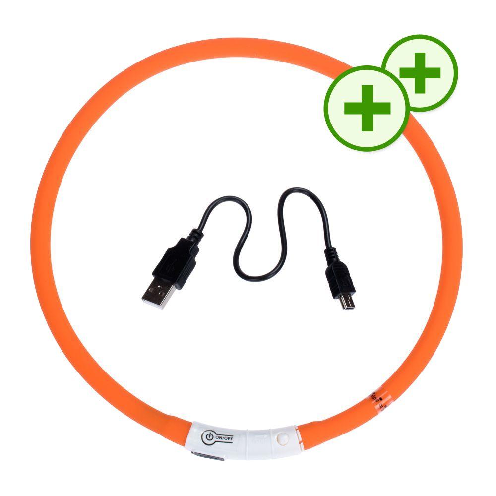 Podwójne punkty bonusowe: LED-owa obroża dla psa - maj 2017 - Pomarańczowa, obwód szyi 65 cm