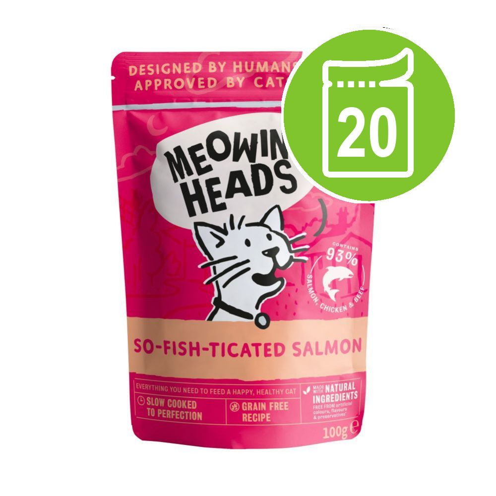 Meowing Heads Wet Cat Food Saver Packs 20 x 100g