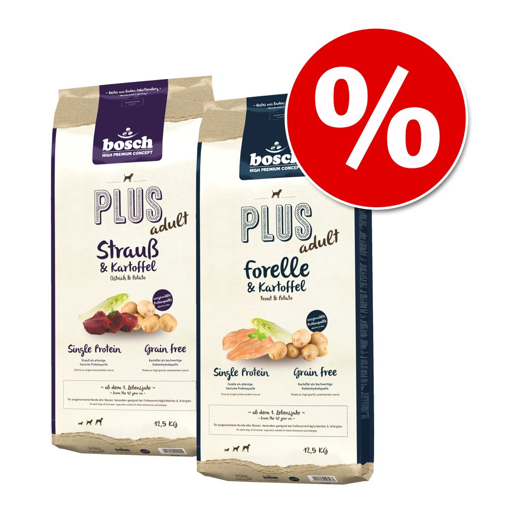 Image of Sparpaket: 2 x 12,5 kg bosch Plus Mix - Strauß & Kartoffel / Forelle & Kartoffel