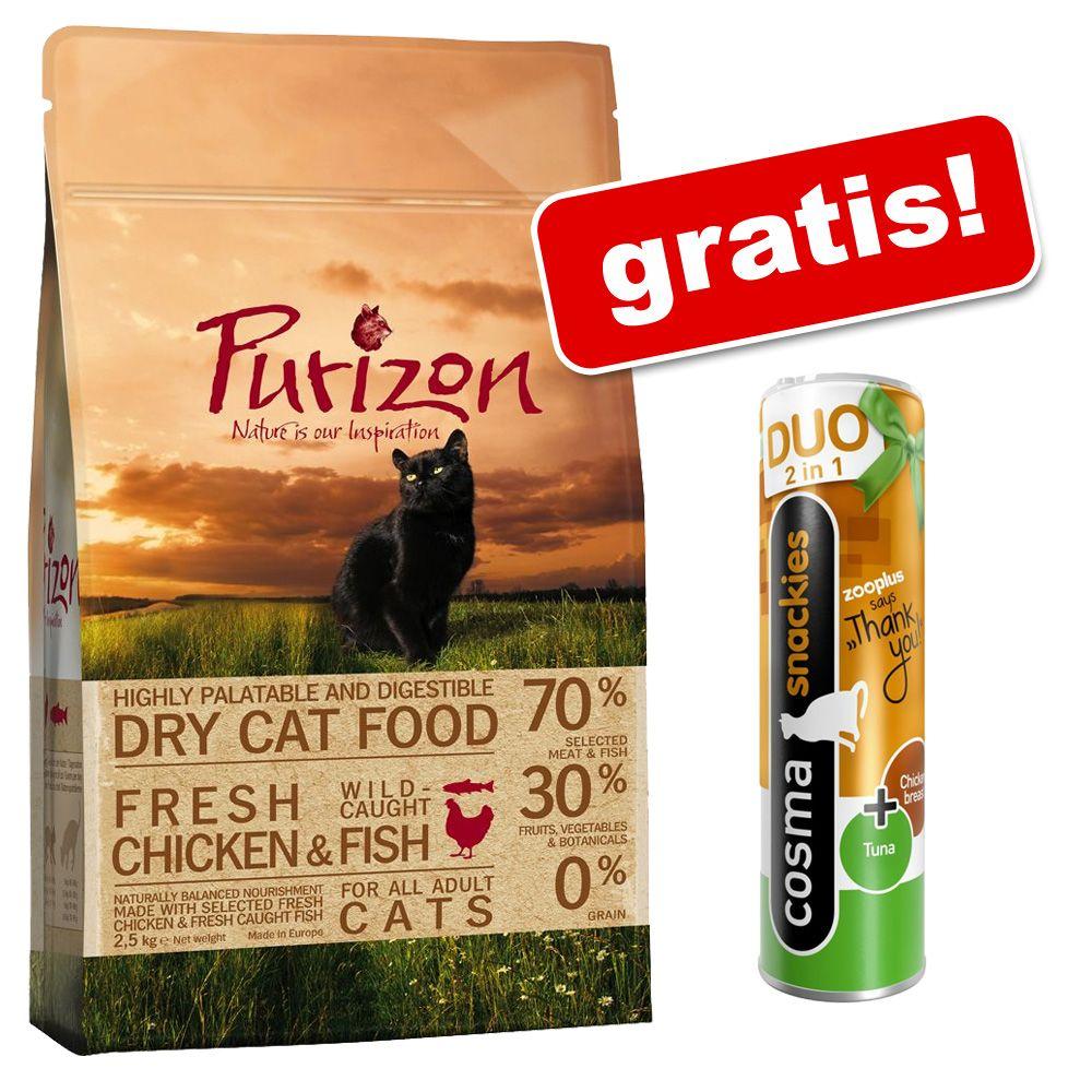 2,5 kg Purizon Adult dla kota + Cosma Duo, kurczak i tuńczyk, 26 g - Ryba