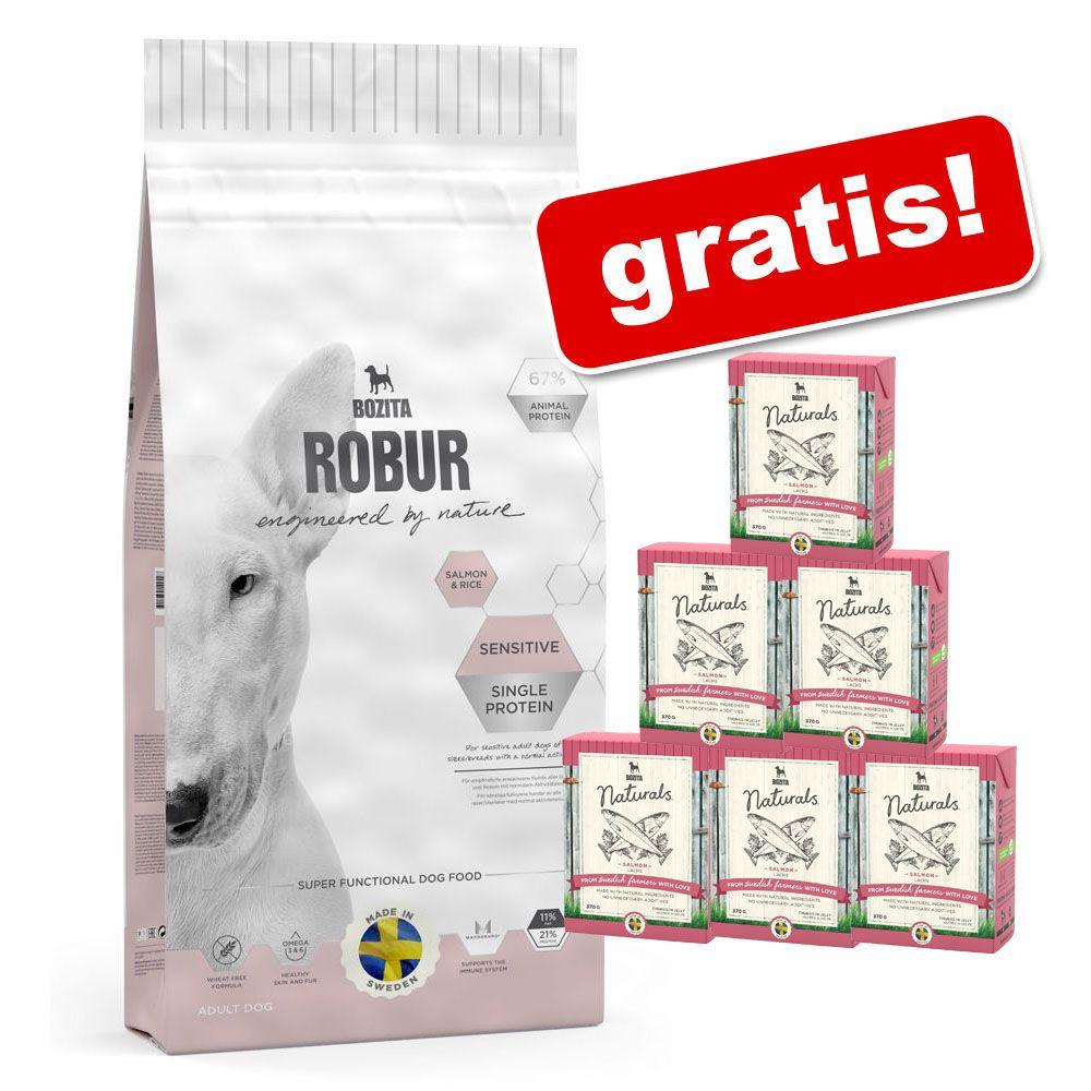 Duże opakowanie Bozita Robur + Bozita Naturals w galarecie, 6 x 370 g gratis! - Mother & Puppy XL (nowa receptura), 14 kg + Bozita Naturals w galareci