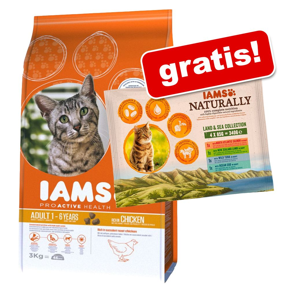 3 kg Iams Trockenfutter + 4 x 85 g Iams Naturally Cat Adult Mix gratis! - Adult