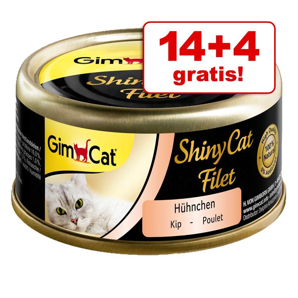 14 + 4 gratis! GimCat ShinyCat, w bulionie, 18 x 70 g - Kurczak i krewetki