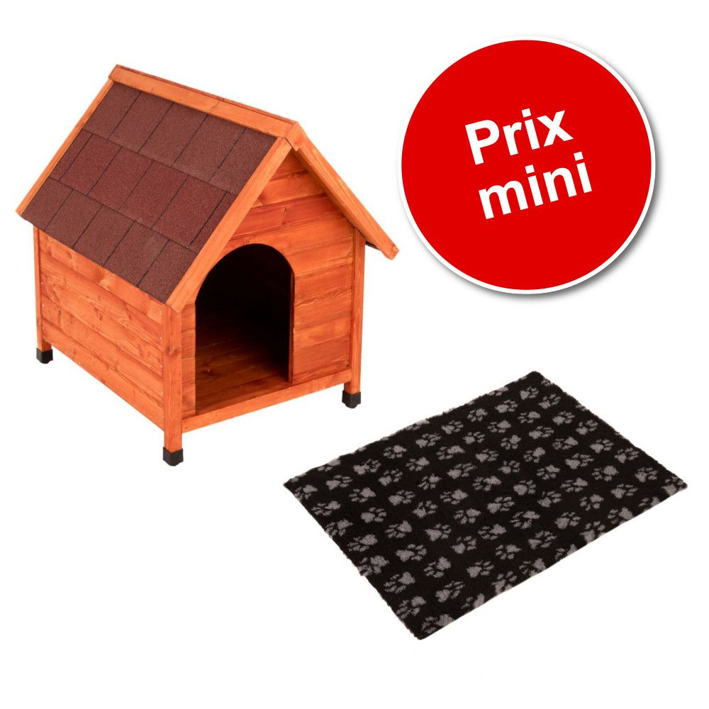 Lot : niche Spike Classic + tapis Vetbed® Isobed SL, noir pattes grises pour chien - taille XL : l 86 x P 109 x H 100 cm