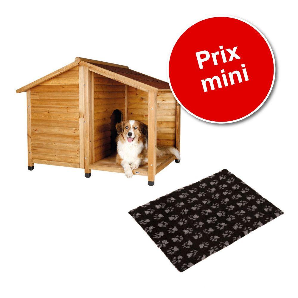 Lot : niche Trixie Natura Lodge avec terrasse + tapis Vetbed® Isobed SL, noir pattes grises – taille M / L : l 130 x P 105 x H 100 cm Zooplus FR