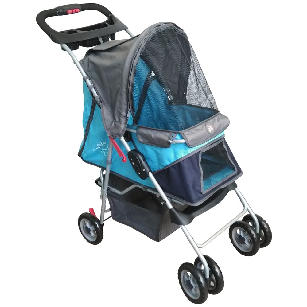 Sporty Pet Stroller for Small Dogs - Navy Blue / Grey