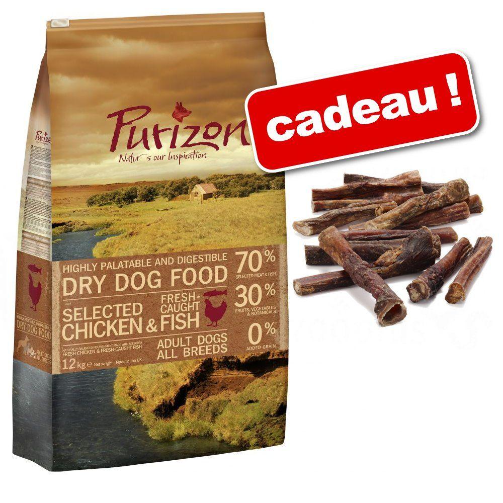 Croquettes Purizon 12 kg + 5 cimiers de bœuf Rocco de 12 cm offerts ! - Single Meat Adult canard, po