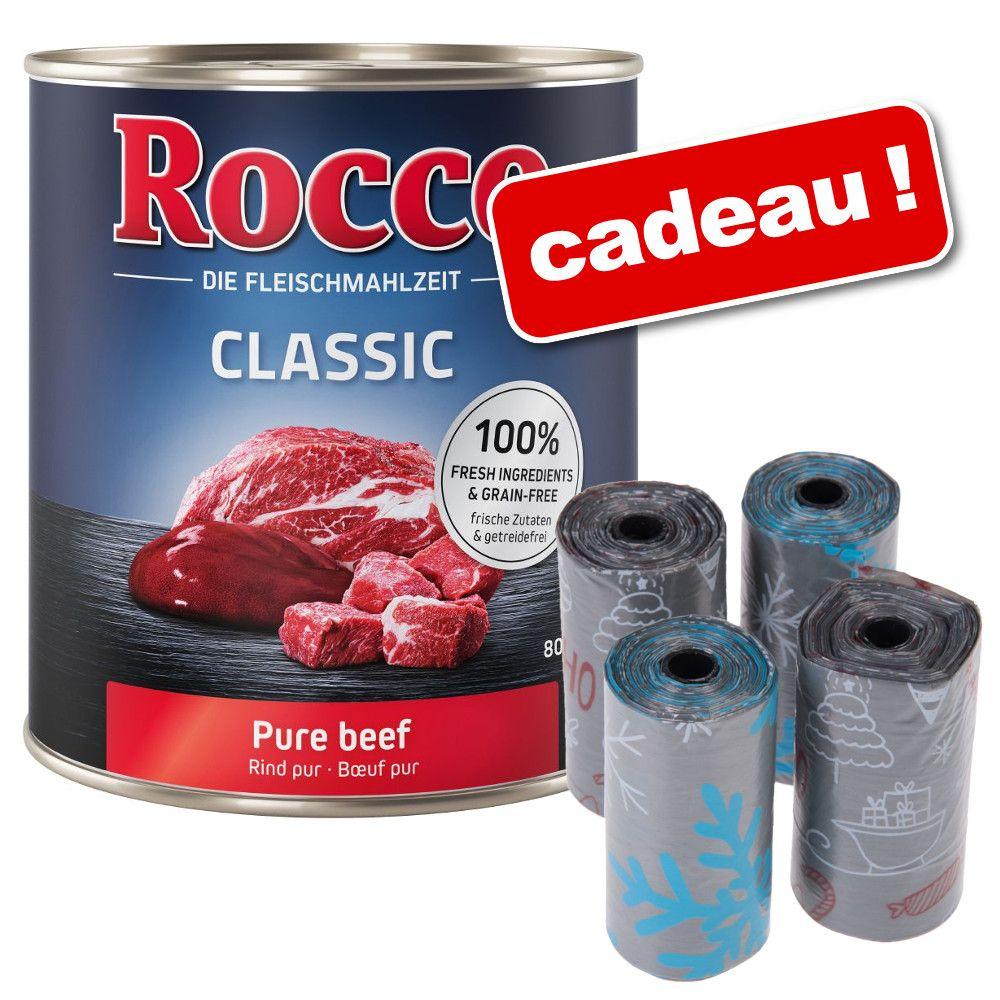 Boîtes Rocco 24 x 800 g + rouleaux de sacs à excréments, motifs d´hiver offerts ! - Junior, cœur de poulet, riz, calcium