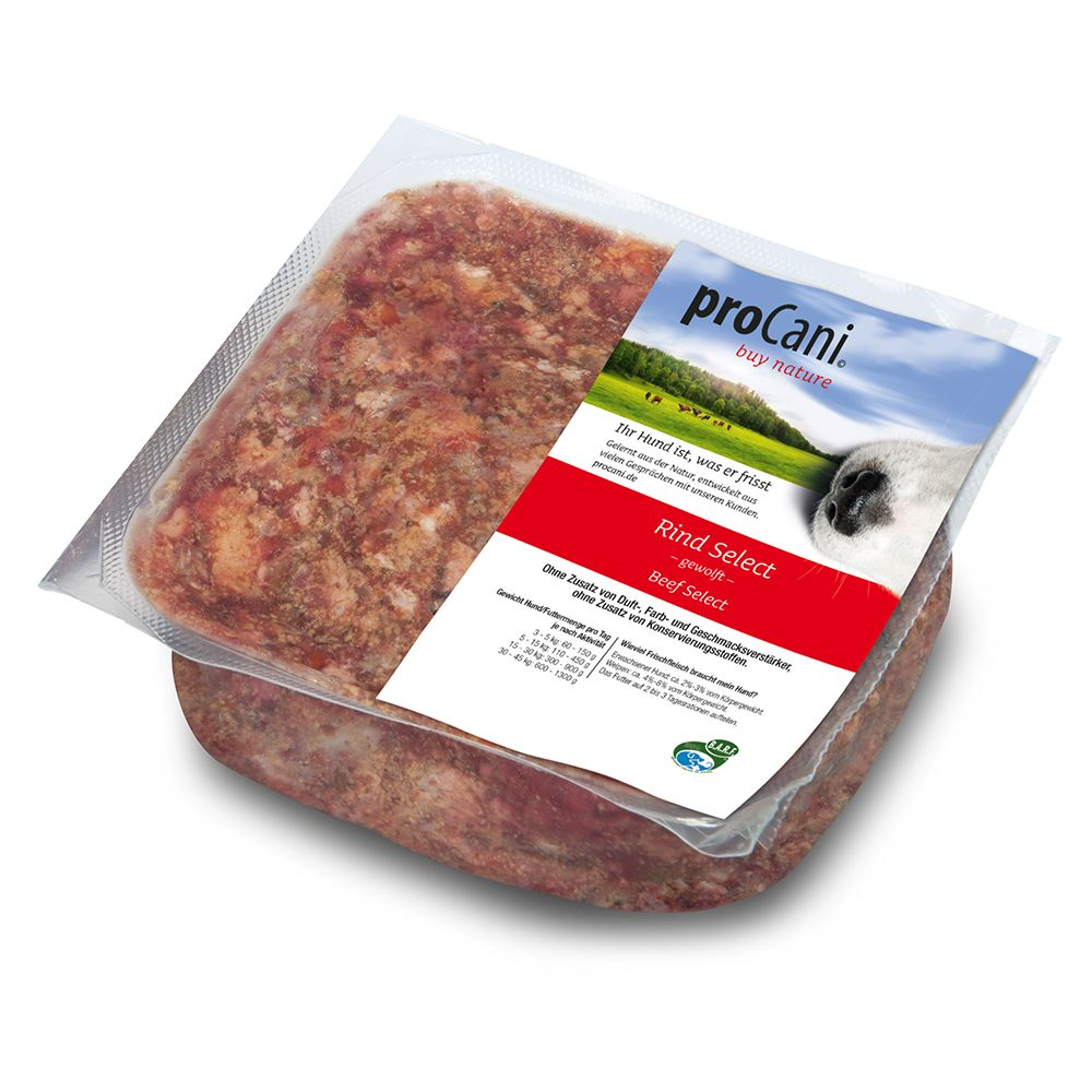 proCani BARF Rind Select mit 10% Obst & Gemüse - 24 x 1000 g