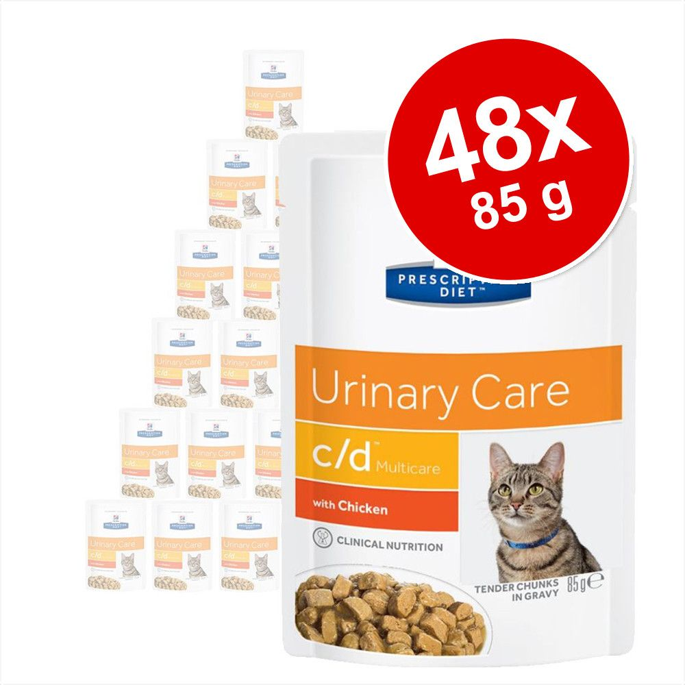 Ekonomipack: Hill's Prescription Diet Feline 48 x 85 g portionspåsar - 85 g c/d Urinary Stress Salmon i portionspåse