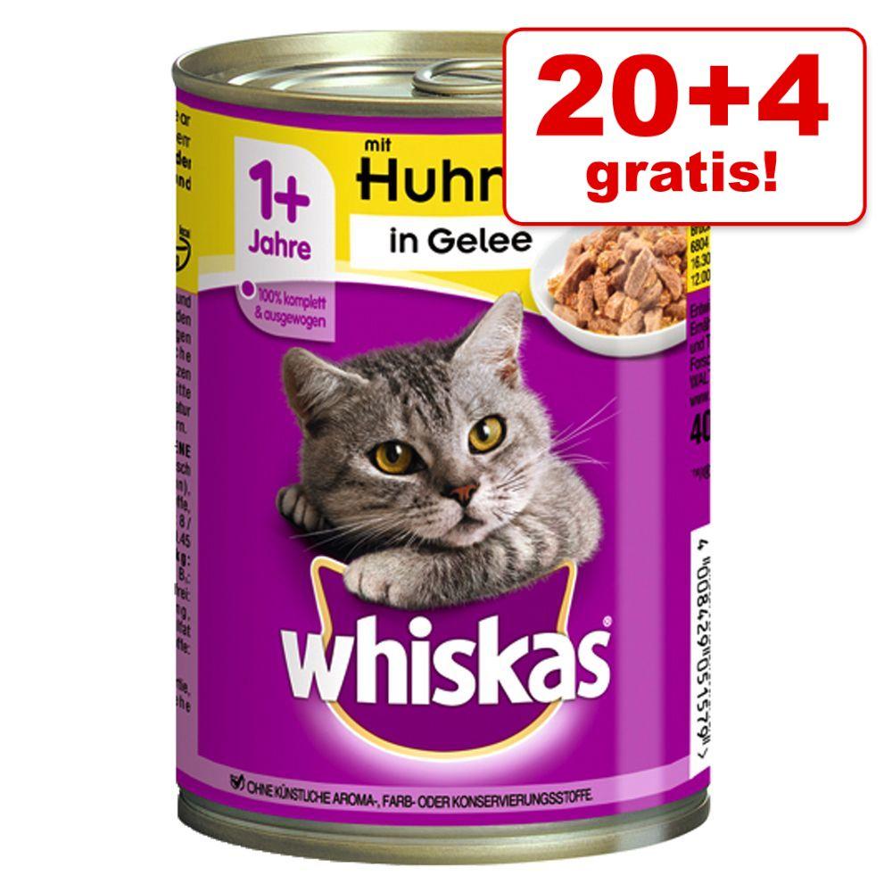 20 + 4 på köpet! 24 x 400 g Whiskas 1+ kattmat - 1+ Nötkött & lever i sås