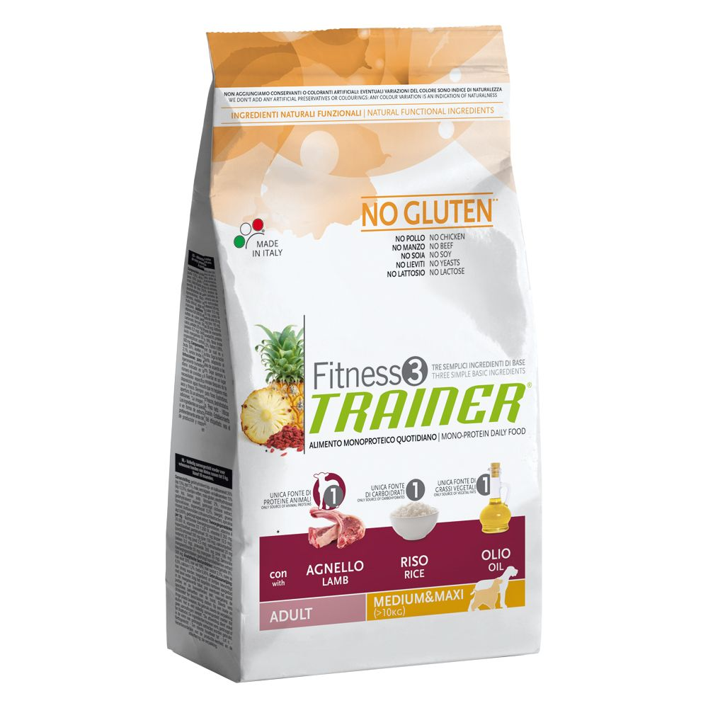 Trainer Fitness 3 Adult Medium/Maxi, jagnięcina i ryż - 12,5 kg