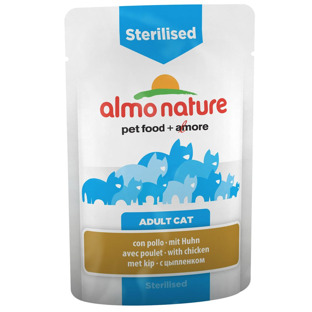 Image of 6 x 70 g Almo Nature Sterilised Pouch - mit Huhn