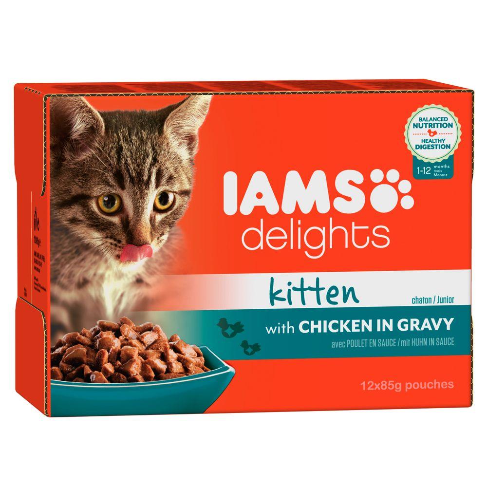 Iams Delights Kitten w sosie - Kurczak, 24 x 85 g