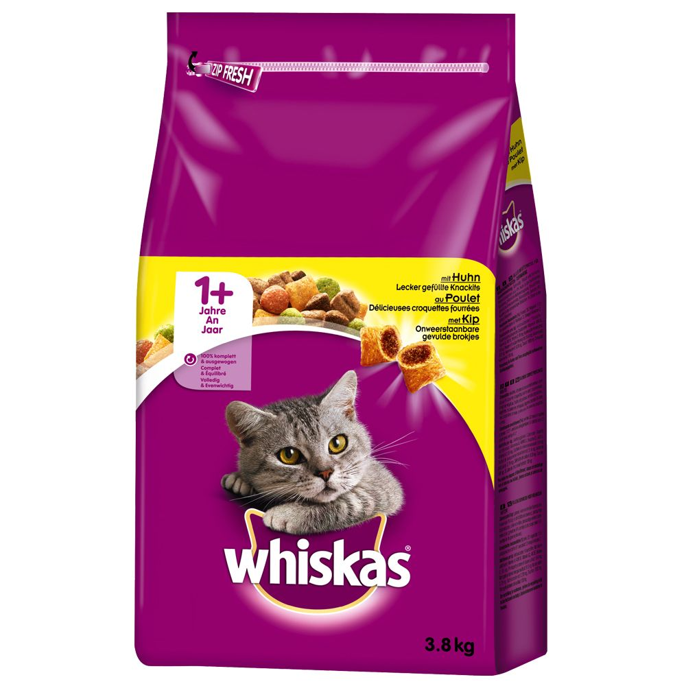 Whiskas Dry Cat Food Economy Packs - Mixed: 1+ Chicken & Tuna (2 x 3.8kg)