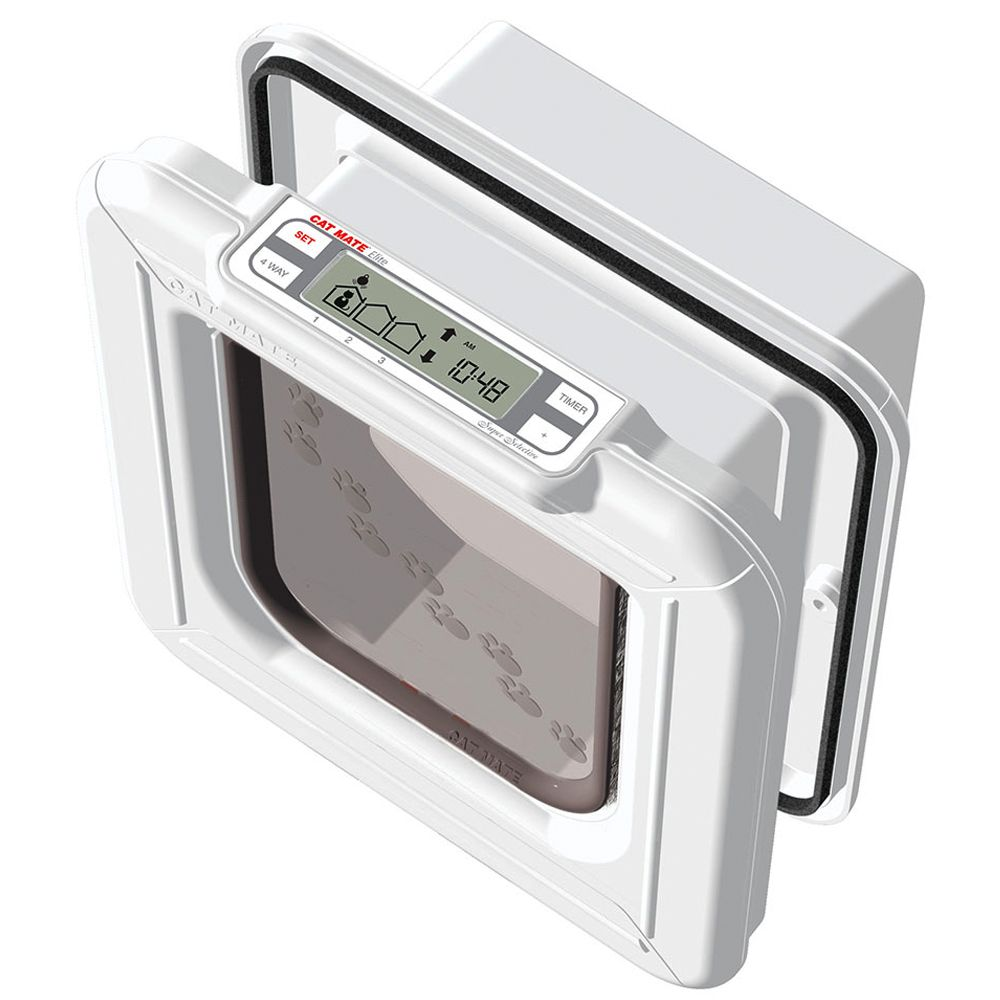Cat Mate Elite Microchip Cat Flap with Timer Control White